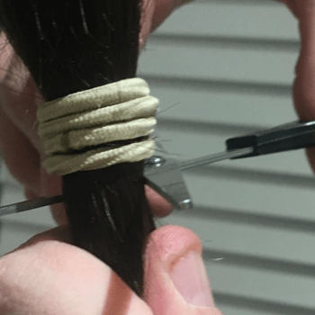 cutting own hair